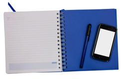 Tagebuchbuch-Isolathintergrund des Handys blauer Lizenzfreies Stockfoto