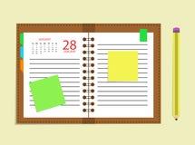 Tagebuchkalender-Terminkalender-Zeitplanbleistift Lizenzfreie Stockfotos