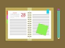 Tagebuchkalender-Terminkalender-Zeitplanbleistift Lizenzfreies Stockbild
