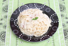 tagen bild för pasta för carbonaradaglampa Arkivfoton