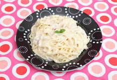 tagen bild för pasta för carbonaradaglampa Arkivfoto