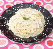 tagen bild för pasta för carbonaradaglampa Royaltyfri Fotografi