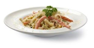 tagen bild för pasta för carbonaradaglampa Bekläda beskådar Royaltyfri Fotografi