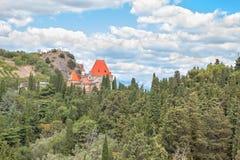 tagen trakai för slottlithuania bild rött tak Arkivbild