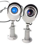 Tages-u. Nachtfarbüberwachungs-Videokamera lokalisiert auf weißem Hintergrund Stockfotos