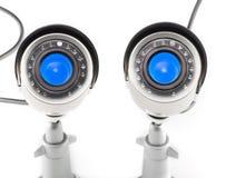 Tages-u. Nachtfarbüberwachungs-Videokamera lokalisiert auf weißem Hintergrund Lizenzfreies Stockfoto