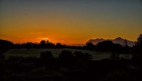 Tagesanbruch, Bucht von Pollensa, Mallorca Stockfotografie
