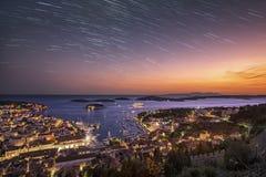 Tagesdrehungen zur Nacht in Hvar Stockfotografie
