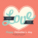 Tageseinladungs-Kartenschablone des Valentinsgruß-s mit LIEBE Lizenzfreies Stockbild