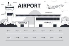 Tagesflughafen Landungsanschluß vermischte Büsche und Baumaussichtsturm, radarDay Flughafen Landungsanschluß vermischte Büsch vektor abbildung