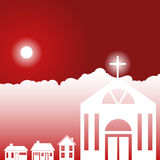 Tageshimmel-Szene - Kirche Lizenzfreies Stockbild