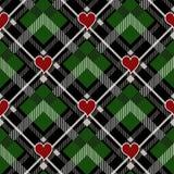 Tageshippie-Art-Schottenstoff-und Büffel-Kontrollplaid-Vektor des Valentinsgruß-s kopiert Schwarzes und Grünes mit roten Herzen,  stock abbildung
