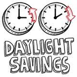 Tageslicht-Sparungszeitskizze vektor abbildung