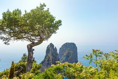 Tageslichtansicht von berühmtem Faraglioni schaukelt von Capri-Insel, Ital stockbilder