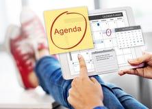 Tagesordnungs-Planer, zum des Listen-Planungs-Konzeptes zu tun Lizenzfreies Stockfoto