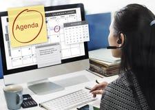 Tagesordnungs-Planer, zum des Listen-Planungs-Konzeptes zu tun Lizenzfreie Stockbilder
