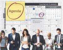 Tagesordnungs-Planer, zum des Listen-Planungs-Konzeptes zu tun Stockfotografie