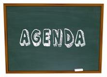 Tagesordnungs-Zeitplan-Wort-Tafel-Schulklasse-Lektions-Bildung Lizenzfreie Stockfotos