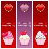 Tagesvertikalen-Fahnen des Valentinsgruß-s Stockfotos