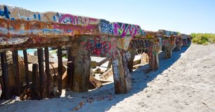 Tagged Coastal Breakwater: Fremantle, Western Australia Royalty Free Stock Images