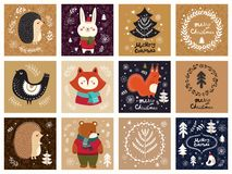 Collection of Christmas illustrations Royalty Free Stock Images