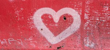 Red Heart on Concrete Royalty Free Stock Photography