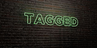 TAGGED -Realistic Neon Sign on Brick Wall background - 3D rendered royalty free stock image Royalty Free Stock Photography