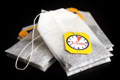 Tagged teabags with string. Royalty Free Stock Photography
