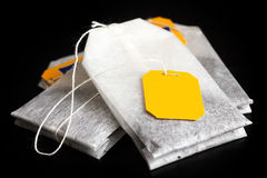 Tagged teabags with string. Royalty Free Stock Images