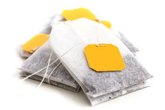 Tagged teabags with string. Royalty Free Stock Photo