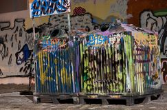 Tagged trash cans Stock Photos