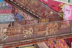 Tagged walls and stairs Royalty Free Stock Photos