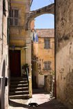 Taggia - The historical centre, Province of Imperia. Liguria. Medieval alley in old town - Italy royalty free stock photography