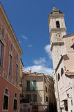 Taggia - Medieval church square in old town, Liguria. The historic centre of Taggia. Province of Imperia. Italy royalty free stock image