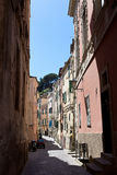 Taggia street in the the old town, Liguria. The historic centre of Taggia. Province of Imperia royalty free stock photo