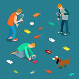 Tagging labeling tag label search concept. Young m. En dog seek scattered tags. Flat 3d isometry isometric style web site app icon set concept vector Royalty Free Stock Photography