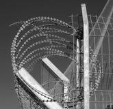 Taggtråd är en typ av stål som fäktar tråd som konstrueras med skarpa kanter eller punkter som ordnas på mellanrum längs trådarna arkivfoton