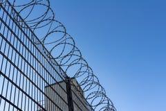 Taggtråd på bakgrund för blå himmel - borttappat frihets- och hoppbegrepp royaltyfri fotografi