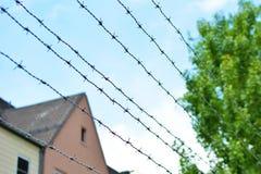 Taggtrådstaket med oskarp byggnad och blå himmel royaltyfri foto