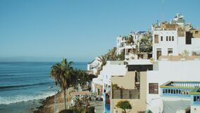 Taghazout village, Beautiful surf Taghazout village Morocco, Atlantic Ocean, full hd
