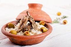 Tagine with lamb ribs, couscous Royalty Free Stock Images