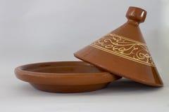 Tagine per lungamente la cottura e l'alimento marocchino fotografia stock