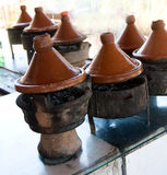 Tagines cooking at restaurant in morocco africa Stock Images