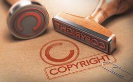 Tagit copyright på material, immateriell rättighet Copyright vektor illustrationer