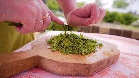 Tagli della donna con le cipolle verdi di un coltello sul tagliere che preme sul coltello sulla cima Il processo di preparazione  stock footage
