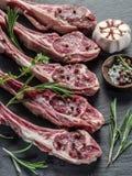 Tagli di agnello crudi con aglio e le erbe immagini stock libere da diritti