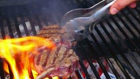 Tagli di agnello freschi, carbone eccessivo arrostito La carne è cucinata sulla griglia Il processo di cottura dell'agnello su fu archivi video