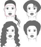 Tagli di capelli per le figure quadrate del fronte Fotografia Stock