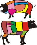 Tagli di manzo & di maiale Illustrazione di Stock