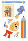 Tagli e foglio di lavoro della colla: cane Gioco educativo per i bambini illustrazione vettoriale